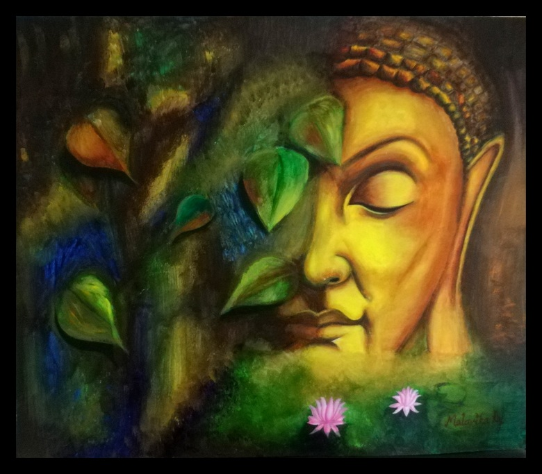 BUDDHA. Acrylic on Paper. Original handmade paintings.