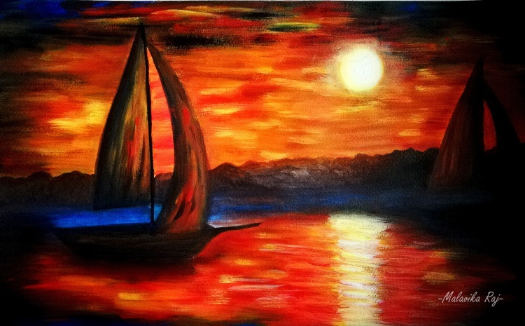 SAILING.Acrylic on Paper. Original handmade paintings.
