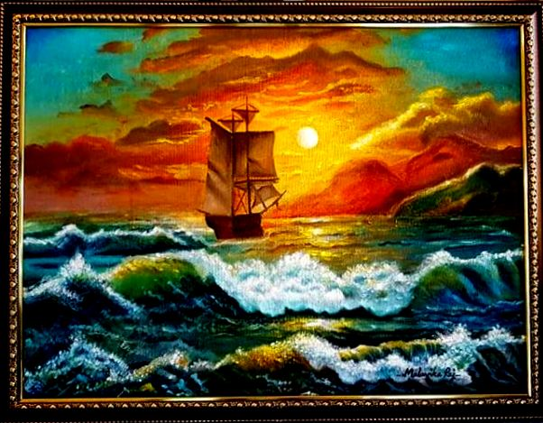 A Voyage To Remember. Acrylic on Canvas.( Framed). Original Handmade Paintings.